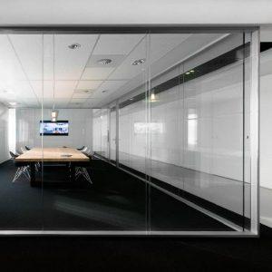 پارتیشن ترکیبی شیشه و پروفیل آلومینیومی